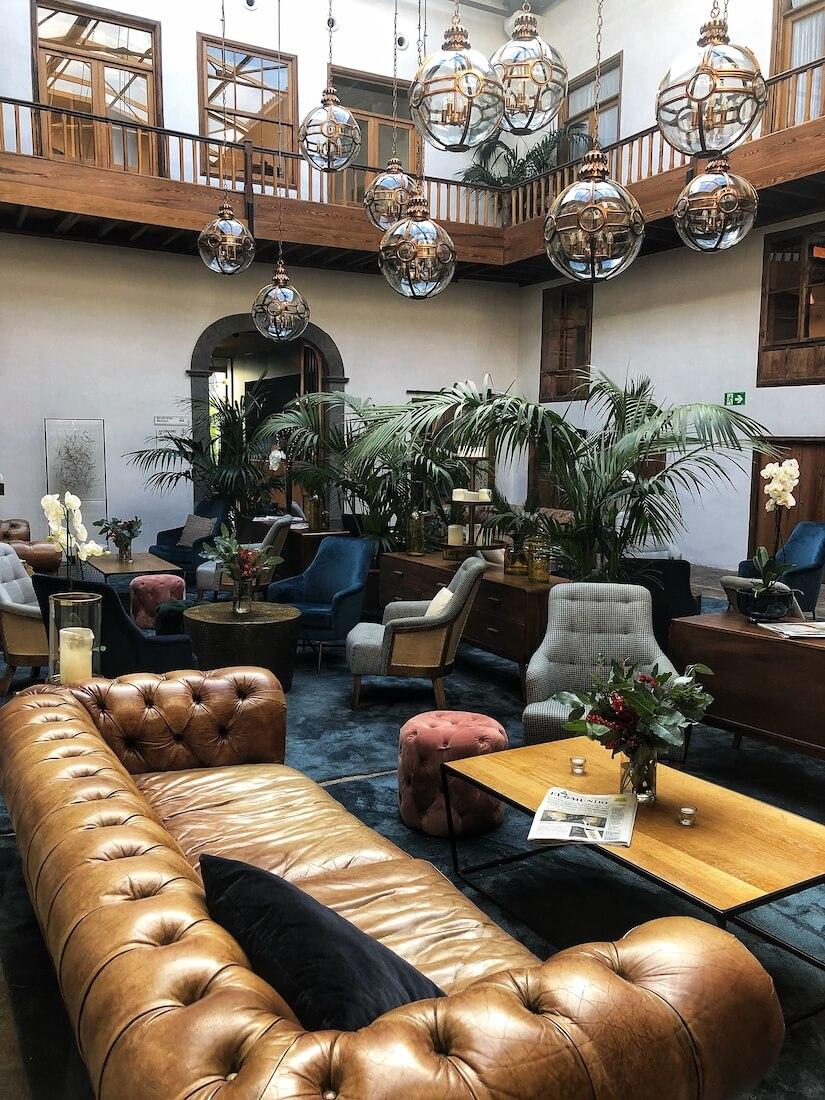 Lobby of Hotel Gran La Laguna in Tenerife's cultural hotspot of San Cristobal de La Laguna