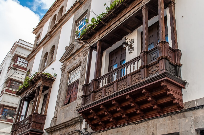 Wooden balconies are a feature of much of Tenerife's traditional architecture