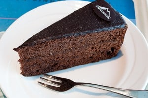 Sacher Torte at the PeakWorld 3000 restaurant, Kitzsteinhorn, Austria