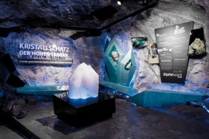 National Park Gallery crystal display at PeakWorld 3000, Kitzsteinhorn, Austria