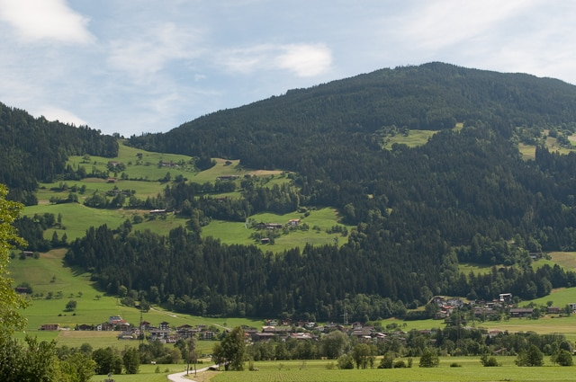 Houses dotted on the Zillertal landscape