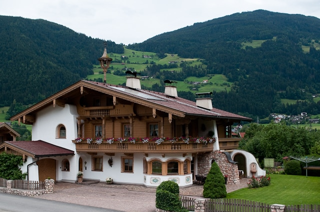 Alpine architecture along the route of the Zillertal Steam Railway, Zillertal, Austria