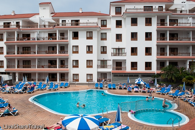Traditional architecture surrounds the swimming pool at Club Casablanca a timeshare resort in Puerto de la Cruz Tenerife