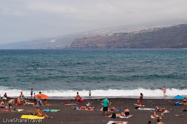 One of Puerto de la Cruz's two sandy beaches, Playa Martinez