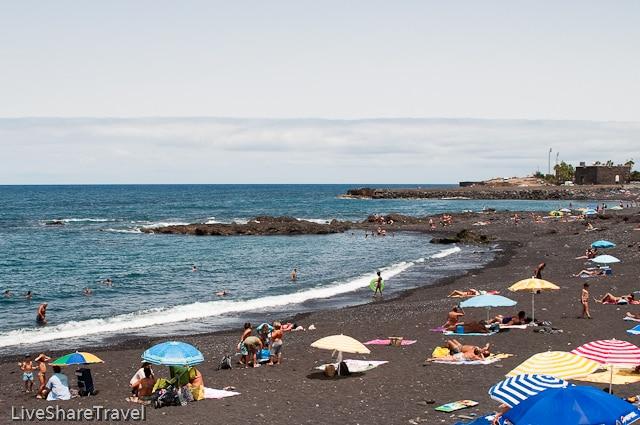 Popular Playa Jardin, in Puerto de la Cruz, one of the best beaches in Tenerife
