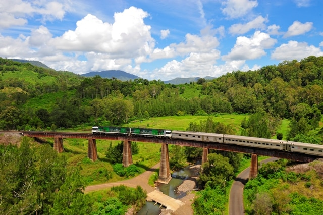 Travel by train aboard The Southern Spirit at Coogal viaduct Border Rangers National Park