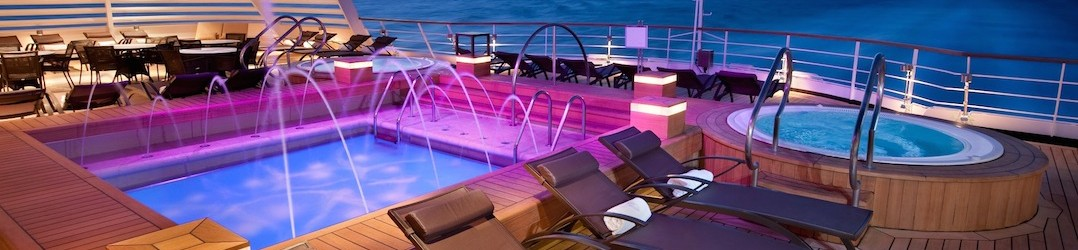 Aft pool on board Seabourn Quest a ultra luxury cruise ship
