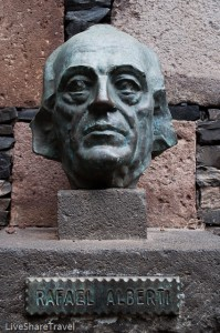 Bust of poet and playwright Rafael Alberti in the poets corner of Garachico's Puerta del Tierra, its old port
