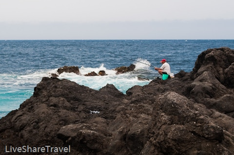 Fishing off the lava-filled seafront, Garachico