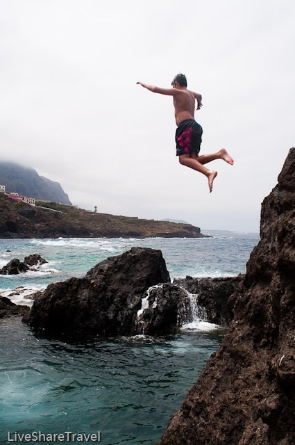 Jumping into the rock pools, Garachico