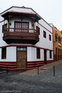 Like La Orotava Garachico's buildings feature wood balconies