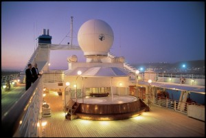 Seabourn Quest, the lower deck at night