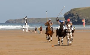 Polo on The Beach at Watergate Bay, Cornwall.
