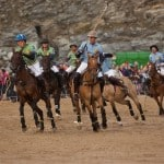 Jamie Le Hardy gets the ball for the Joules team at Veuve Clicquot Polo on the Beach at Watergate Bay, Cornwall