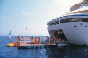 Seabourn Quest has a marina for passengers