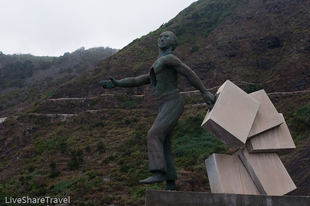 The statue of the emigrant looks out across the Atlantic from Garachico