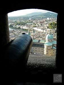 A cannon defends Festund Hohensalzburg castle in Salzburg