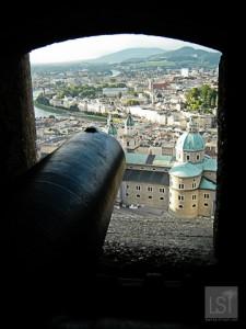 A cannon defends Festund Hohensalzburg castle in Salzburg