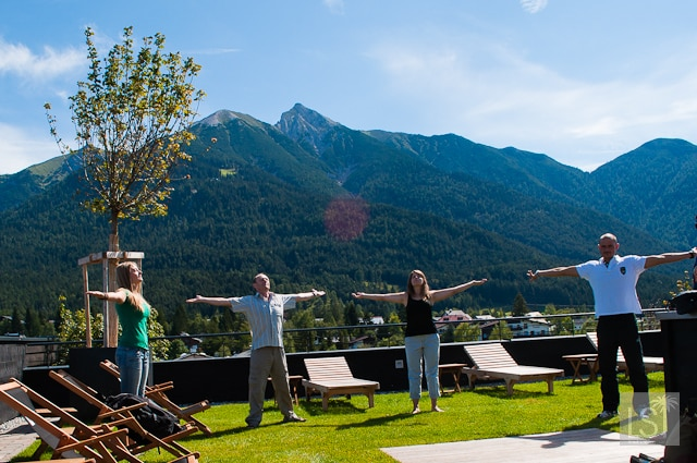 Five Tibetans exercises in the Austrian Spa Town of Seefeld