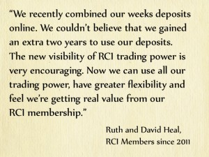 RCI Members Ruth and David Heal on exchange holidays