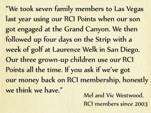 RCI members Mel and Vic Westwood on exchange holidays