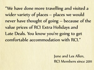 RCI members June and Les Allen on Extra Holidays and Late Deals
