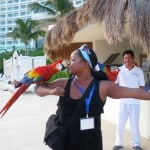 Parrots at Live Aqua Resort Cancun, Mexico,