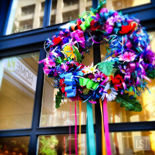 Fiesta wreathes in bright colours decorate many of the buildings in San Antonio