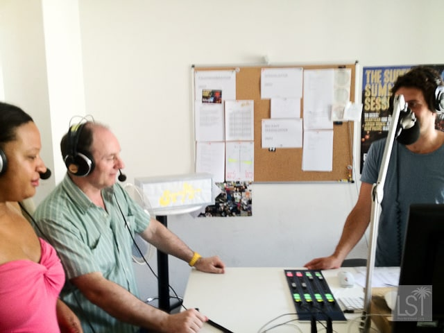 Sarah & Terry Lee of LiveShareTravel being interviewed on Vienna's Superfly FM