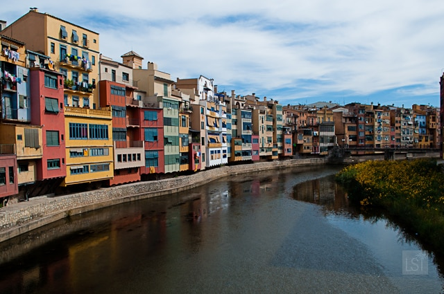 Colourful hanging houses of Girona