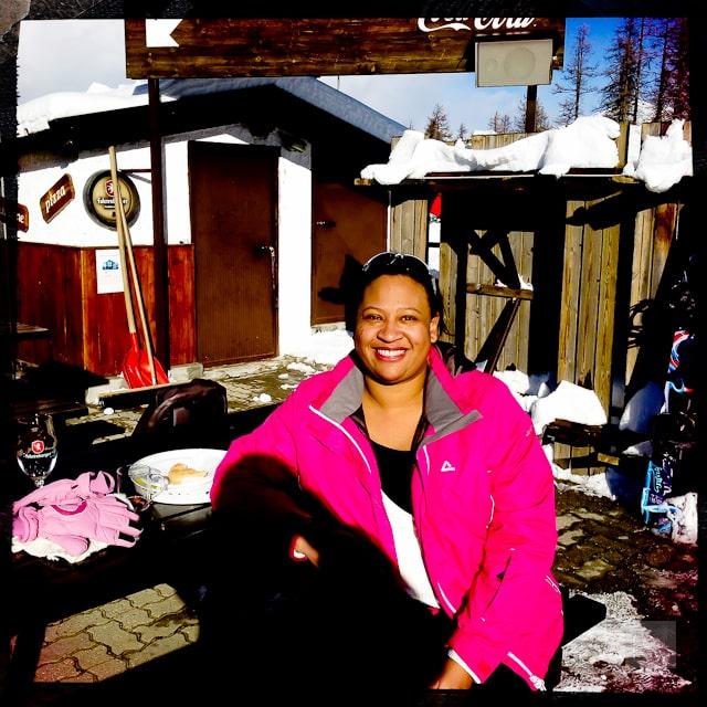 Sarah basking in the Alpine sunshine