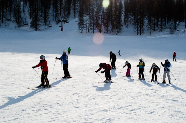 Fellow starters on their first ski lesson