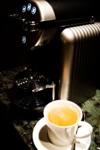 In room coffee machines are often only found in suites in luxury hotels
