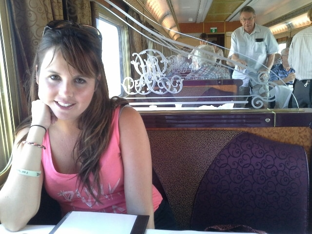 Cheryl aboard the Indian Pacific train