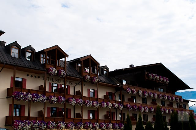 Colourful window boxes at Hotel Neue Post, one of the four star hotels in Zell am See