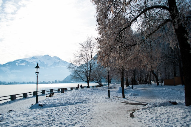 Lake Zell in a winter wonderland scene