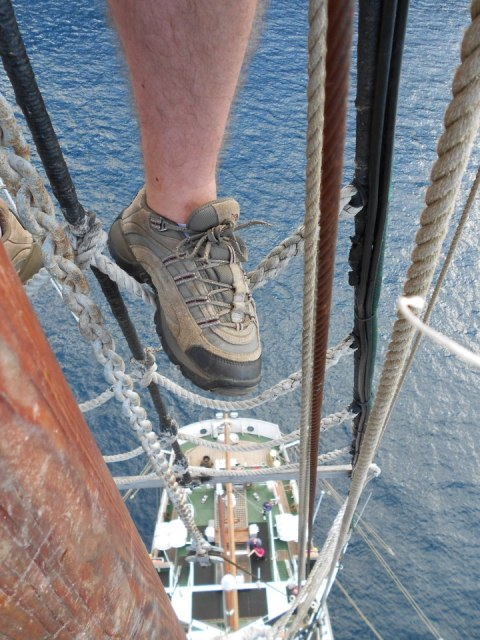 Living the dream, climbing the rigging
