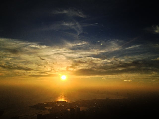 Sunset over Toronto from the CN Tower's LookOut, visit here before or after dinner at 360 restaurant