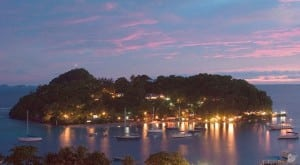 Young island at night a liming paradise