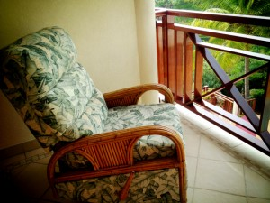 Cosy - a reclining rocking chair on the balcony of my room