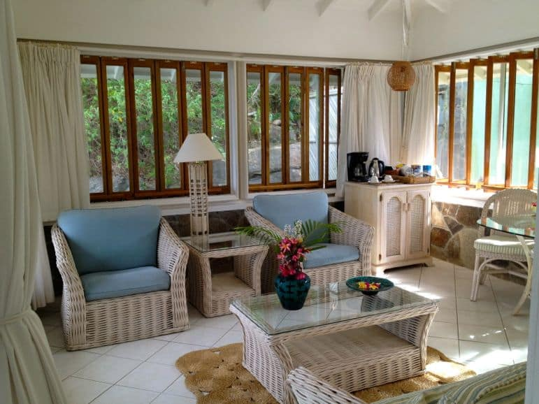 Living room, cottage 10, Young Island Resort, St Vincent and the Grenadines