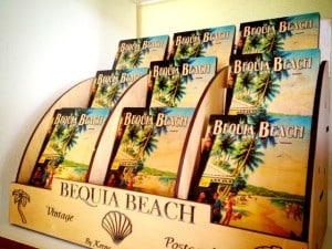 Quirky wooden postcards at Bequia Beach Hotel