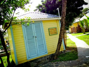 Wooden buildings in a traditional Caribbean style