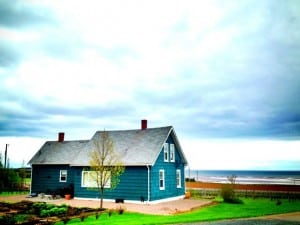Beautiful buildings amid the green fields and red soil of Prince Edward Island