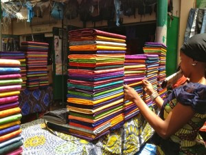 Shopping for fabric at Serrakunde market