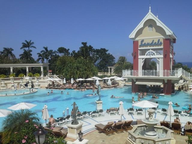 Swimming pool at Sandals Grande Riviera Jamacia