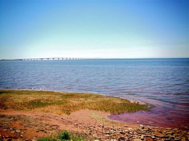 The purple coast before the Confederation Bridge on Prince Edward Island