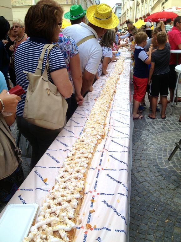 The world's largest apricot cake in Krems, Lower Austria