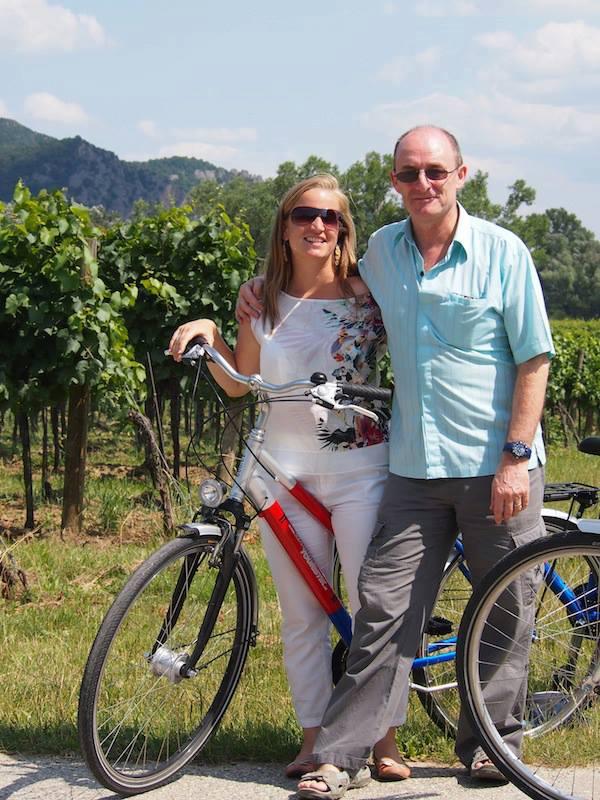 Terry & Elena riding bikes along the Danube