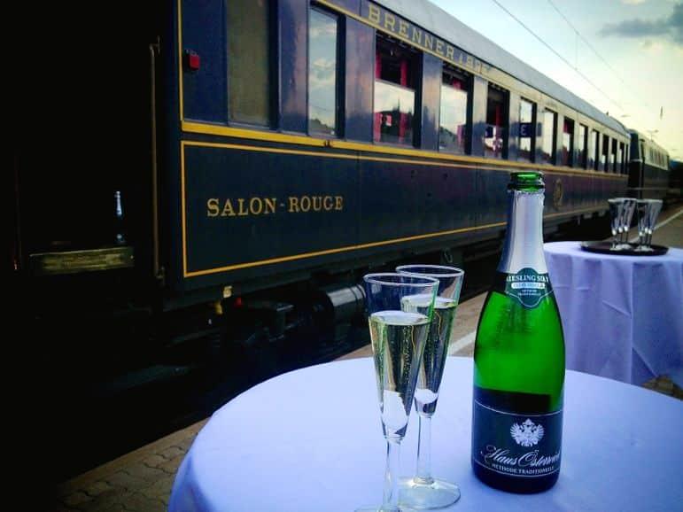 Wine to start our train journey through Lower Austria's Wachau region